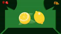 Lemon  - Vector Graphics - Food Animation - leaves - stock footage