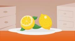 Lemon  - Vector Graphics - Food Animation - plate - stock footage