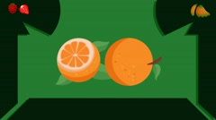 Orange  - Vector Graphics - Food Animation - leaves Stock Footage