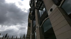 Portcullis House and Big Ben seen from Victoria Embankment in London Stock Footage