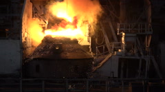 Sparks and fire during the purging process iron oxygen Stock Footage