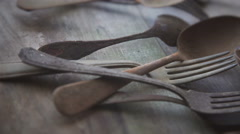 Old silverware - stock footage