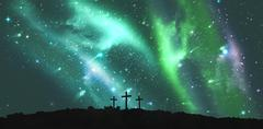 Cross religion symbol shape over sky with aurora borealis - stock illustration