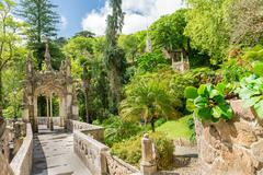 The Regaleira Palace (known as Quinta da Regaleira) in Sintra - stock photo
