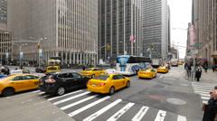 New York City street cars traffic high angle view jib crane - stock footage