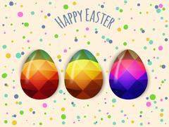 Colorful Easter eggs greeting. Polygonal vector design, low poly - stock illustration
