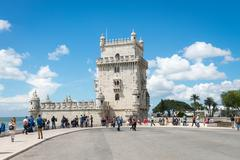 Belem Tower located on the Tagus River, Lisbon, Portugal Stock Photos