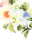 Greeting Card with Blooming Flowers - stock illustration