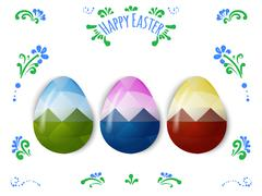 Colorful Easter eggs greeting. Polygonal vector design, low poly Stock Illustration