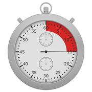 Stopwatch with button and red range isolated on white background Stock Illustration