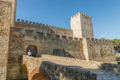 Internal part Castle of Sao Jorge - stock photo