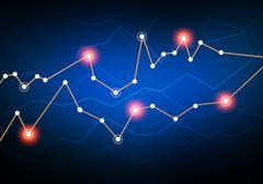 lines in graphs connect Networking luminous points - stock illustration