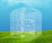 Field of green grass and blue sky with wireframe building - stock illustration