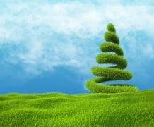 Field of green grass and sky with helix tree Stock Illustration
