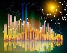 office skyscrapers and columnar chart on abstract background - stock illustration