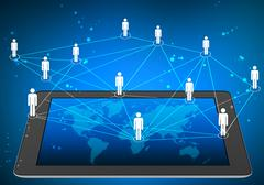 tablet and icons people connect network on world map screen - stock illustration