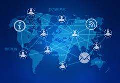 computer icons and people connection in a global network on the world map - stock illustration