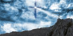 Cross religion symbol shape in the sky - stock illustration