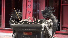 Incense at a Hanoi Temple Stock Footage