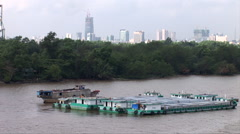Ho Chi Minh City seen from the Saigon River Stock Footage