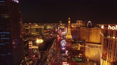 Bellagio, Planet Hollywood, Cosmopolitan, Paris: Vegas 4K Night Aerail Footage - stock footage
