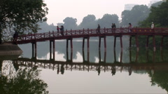Huc Bridge over the Hoan Kiem Lake Stock Footage