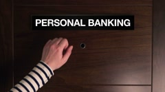 Personal banking concept, woman knocking on financial adviser door Stock Footage