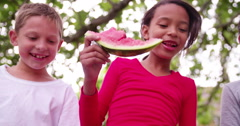 Mixed race group of children eating watermelon smiling at camera - stock footage