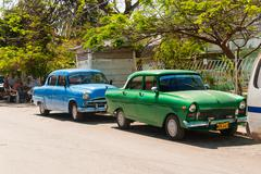 VARADERO, CUBA - February 8, 2008. Classic oldtimer car parked on street. Mos Stock Photos