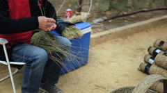 MURCIA,SPAIN-MARCH The Traditional craft of a weaving baskets in a Stock Footage
