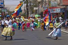 ARICA, CHILE - JANUARY 23, 2016: Carnaval Andino con la Fuerza del Sol Stock Photos