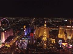 Las Vegas Strip with multiple casinos: Las Vegas- 4K Night Aerail Footage Stock Footage