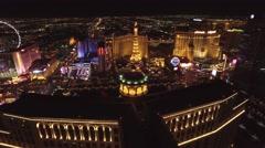 Paris Las Vegas, Aria, Planet Hollywood,Las Vegas 4K Night Aerail Footage Stock Footage