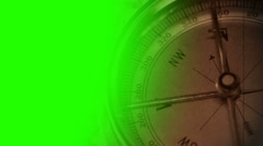 Compass on old film with green screen mask Stock Footage