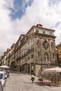 View of facades, alleyway and traditional houses in  Porto - stock photo
