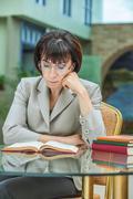 woman reading book - stock photo