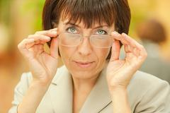 Beautiful businesswoman with glasses - stock photo