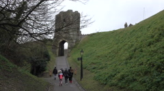 Dover Castle stone gate family walking England 4K Stock Footage