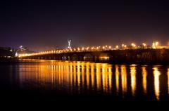 Lights on the Kiev's bridge at night - stock photo