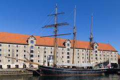 Big sailboat anchored in channel - Copenhagen, Denmark - stock photo