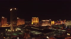 Trump Casino With Other Casino's, Las Vegas- 4K Night Aerial Footage Stock Footage