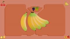Bananas  - Vector Graphics - Food Animation - board - stock footage
