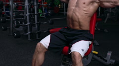 Handsome fit man exercising . Slow motion Stock Footage