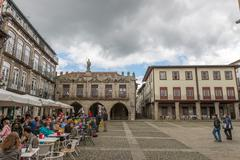 Oliveira square, in the historical center of Guimaraes. Stock Photos