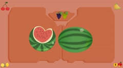Watermelon  - Vector Graphics - Food Animation - board Stock Footage