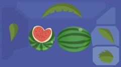 Watermelon  - Vector Graphics - Food Animation - leaves 02 Stock Footage