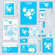 Blue set of vector corporate identity template. Modern business stationery mock - stock illustration