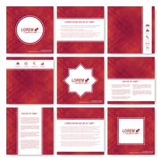 Red set of square template brochure. Business, science, medicine and technology - stock illustration