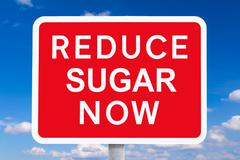 Red signpost REDUCE SUGAR NOW - stock illustration