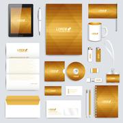 Golden set of vector corporate identity template. Modern business stationery Stock Illustration